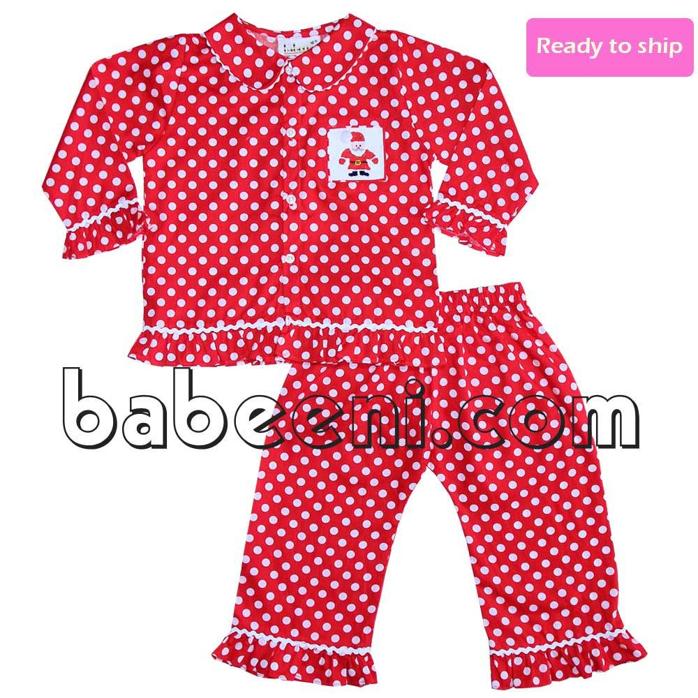 Santa Claus smocked girl pajamas - BB462