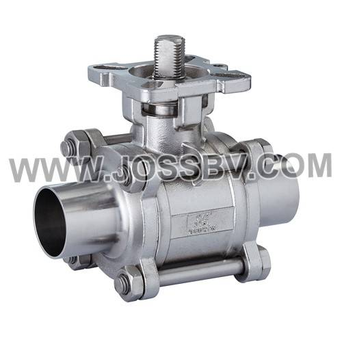 Three-Piece Sanitary Ball Valve Butt Weld With High Cycle Direct Mount For Actuator