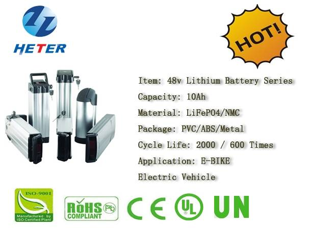 48v10Ah E-Bike Lithium Battery; EV/Scooter/Moped Battery; LiFePO4/NMC Battery Series; 48v Li-ion Bat