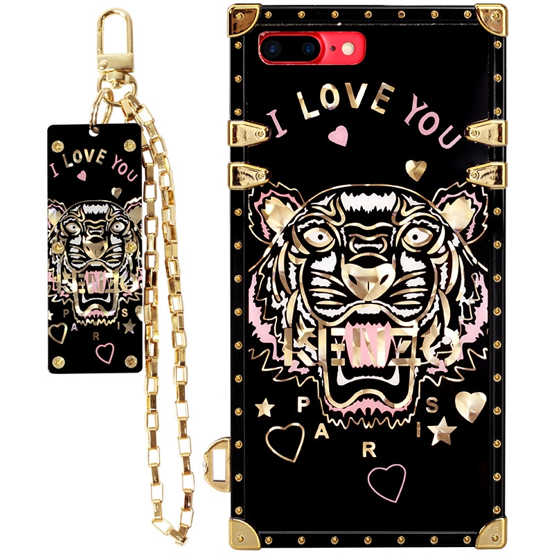 Fashionable Black Tiger Chain Silicone Cell Phone Cases for iPhone 8/7/6s Plus Soft Shell