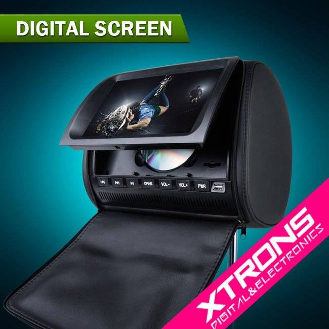 "9"" Zip Cover IR/FM/MP3/MP4 Headrest DVD Player With Free Wireless IR Headphones"