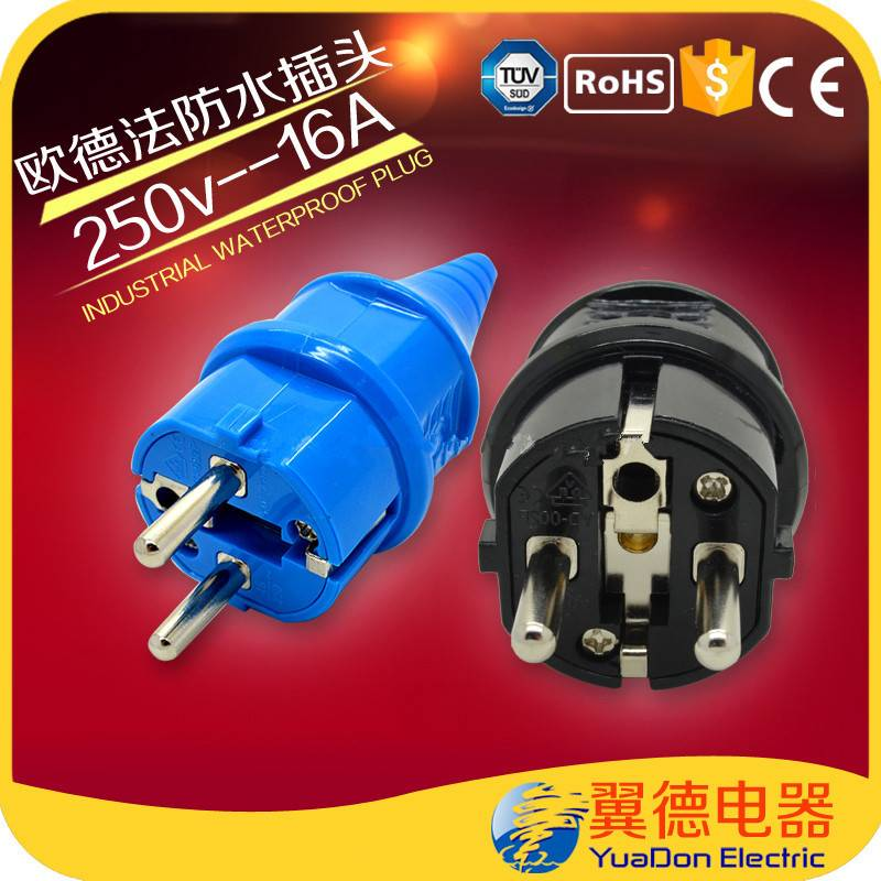 250V Male Connector PC industrial 2 Hole Schuko Plug