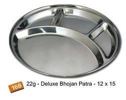 Stainless Steel Round 4 Compartment Mess Trays Thali Dinner Plate