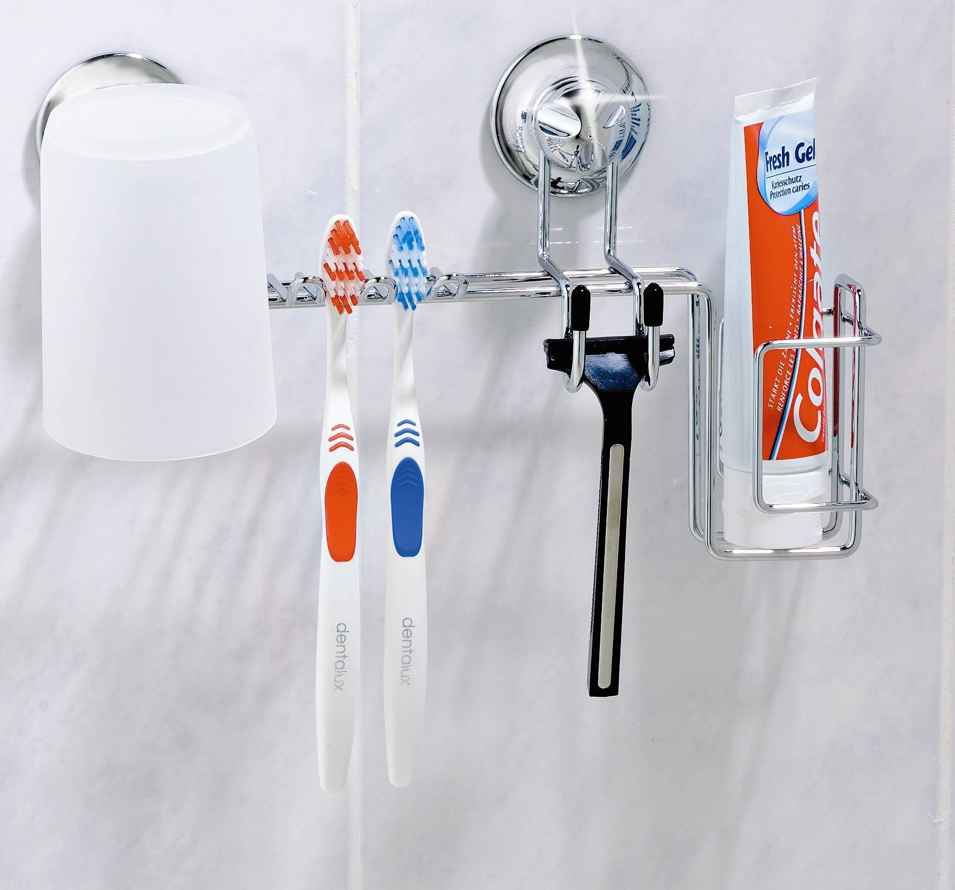 Toothbrush Holder with Razor/Cup/Toothpaste Holder