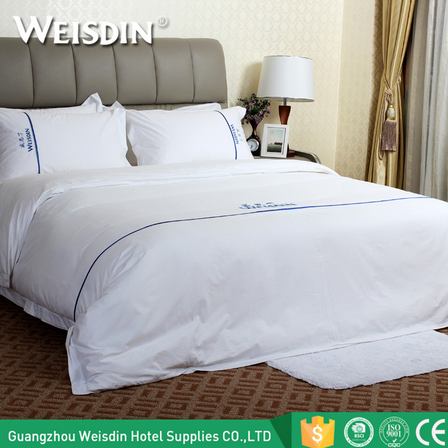 Wholsesale bed linen embroidery logo hotel cotton bedclothes sateen 100% cotton luxury bedding set