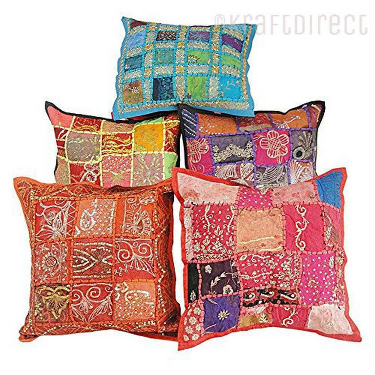 Tie Dye, Floral Embroidered and Patchwork Pillow Covers