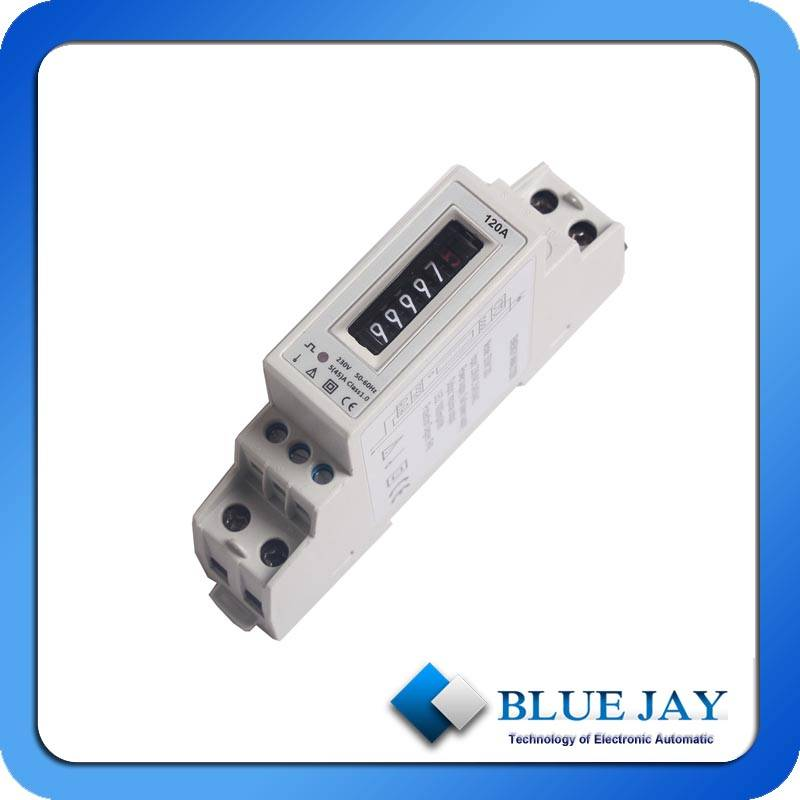 230V120A Single Phase Smart Din-Rail Meter With Two Wires Energy Meter SO Output