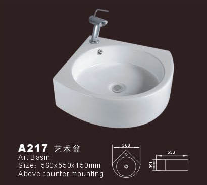 Corner bathroom sink