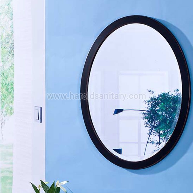 Metal Framed Wall Mounted Round Mirror