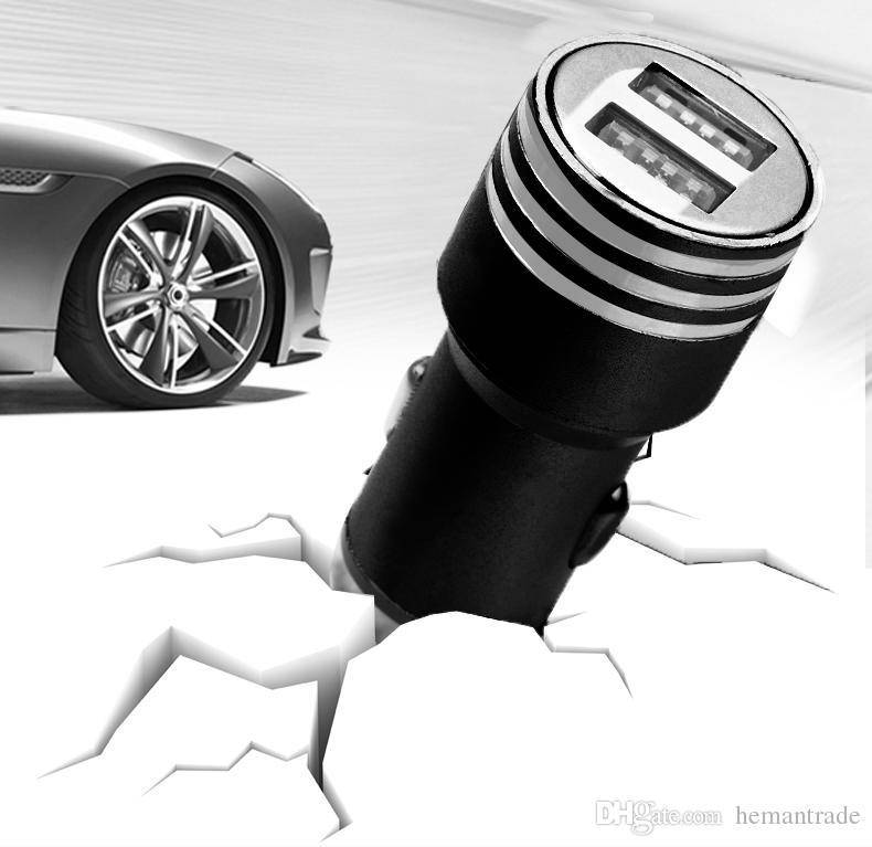 Travel Car Charger Best Metal Dual USB Port Car Charger Universal for Apple iPhone iPad iPod Samsung