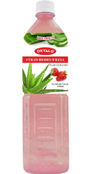 OKYALO Wholesale 1.5L Aloe Vera juice drink with Strawberry flavor