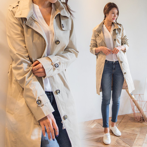 Latest Fashion style ladies stylish Double Trench Coat with Zipper and button for women
