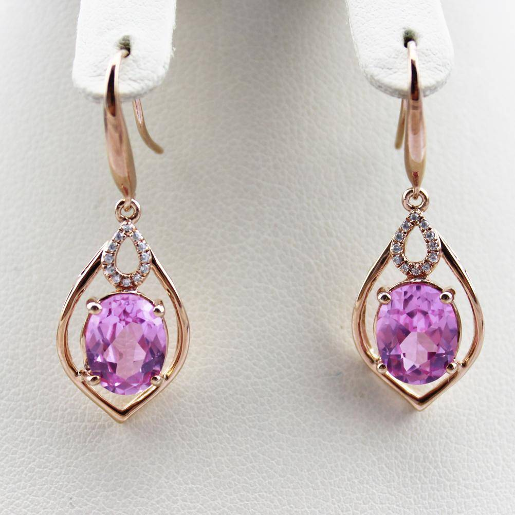18K Rose Gold Plated  with gemstone earrings