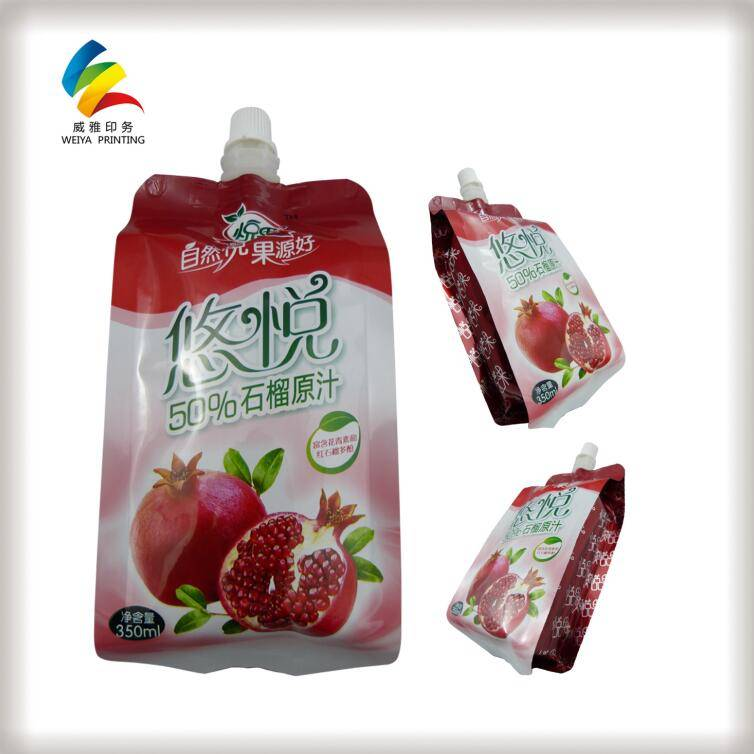 water beverage fruit juice stand up pouch with cap spout liquid