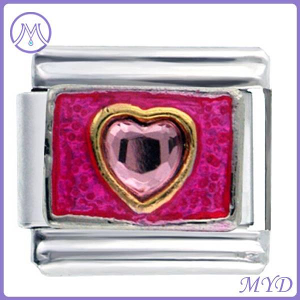316L stainless steel heart birthstone Italian charm