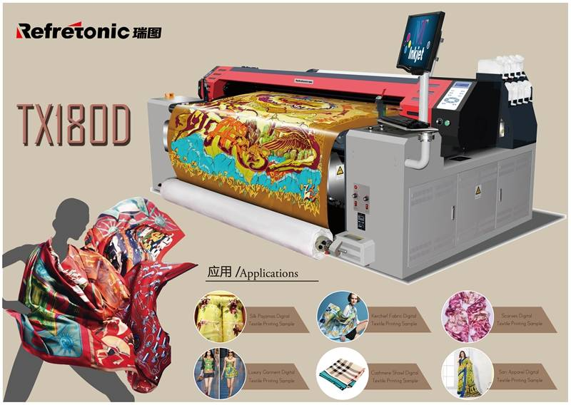 1.8 m Digital Belt Textile Printer with Double DX7 Print heads  Refretonic  RT-TX180-D