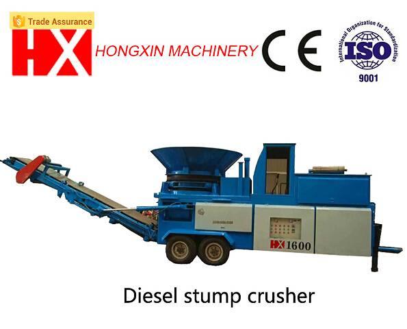 Diesel engine Mobile stump crusher wood chipper tree shredder stump grinder