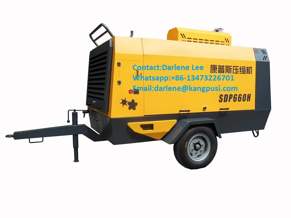 Hot Sell Diesel Engine Portable Screw Air Compressor