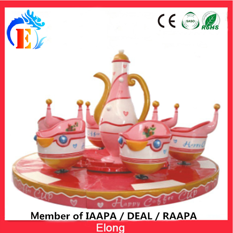 Elong cup turntable for sale, 6 seats carousel coffee cup theme park carousel
