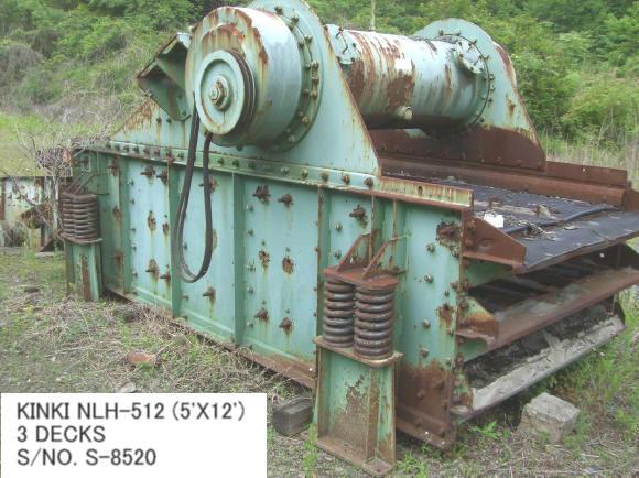 "USED ""KINKI"" NLH-512 (5' X 12') 3 DECKS HORIZONTAL TYPE VIBRATING SCREEN S/NO. S-8520 WITH MOTOR"