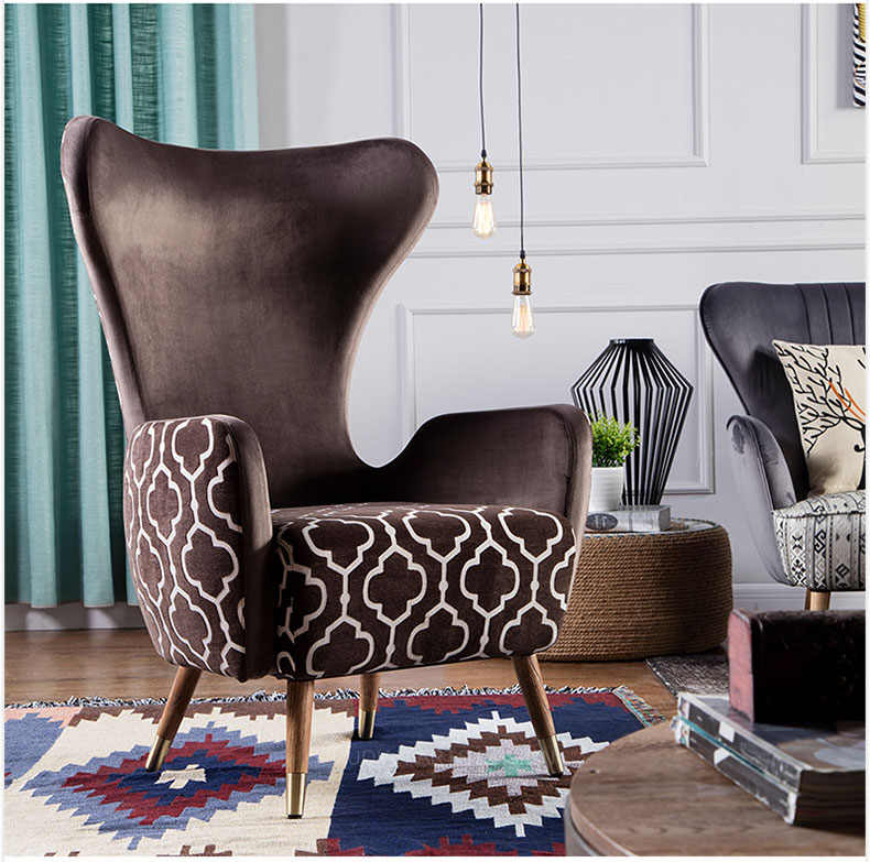 European style indoor furniture sofa chair high back lounge chair fabric arm chair with oak legs