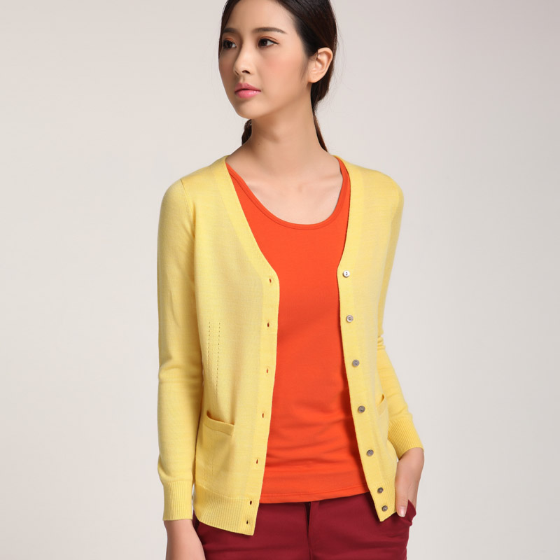 Ladies Merino Woolen Cardigan In Stock 100% Wool V Neck Long Sleeve Womens Cardigan A/W 2016