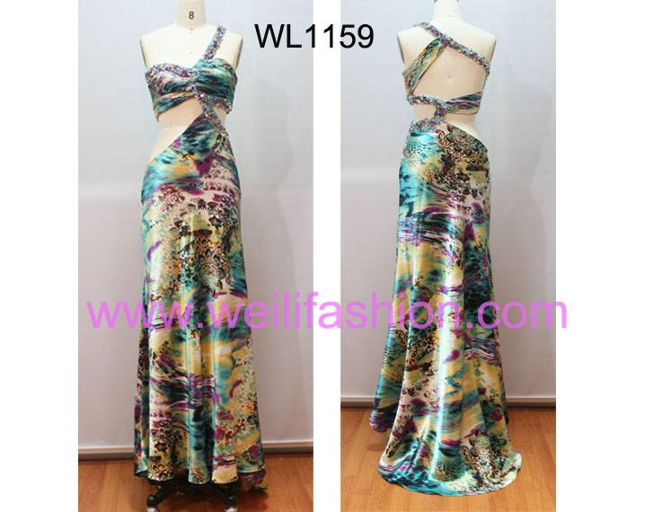 Long Beading Pleated Print Sating Evening Dresses