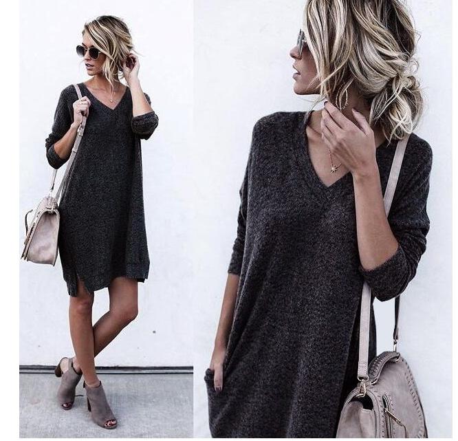 2 Colors Women Sweater Dress