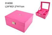 High grade pink PU jewelry box with ring set small pouch inside sold in Shantou