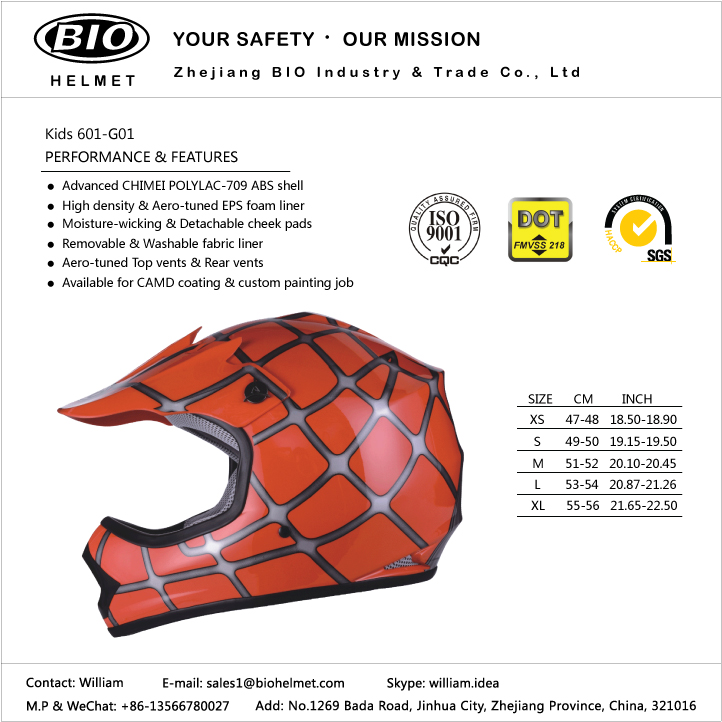 kids dir bike helmet DOT certificated
