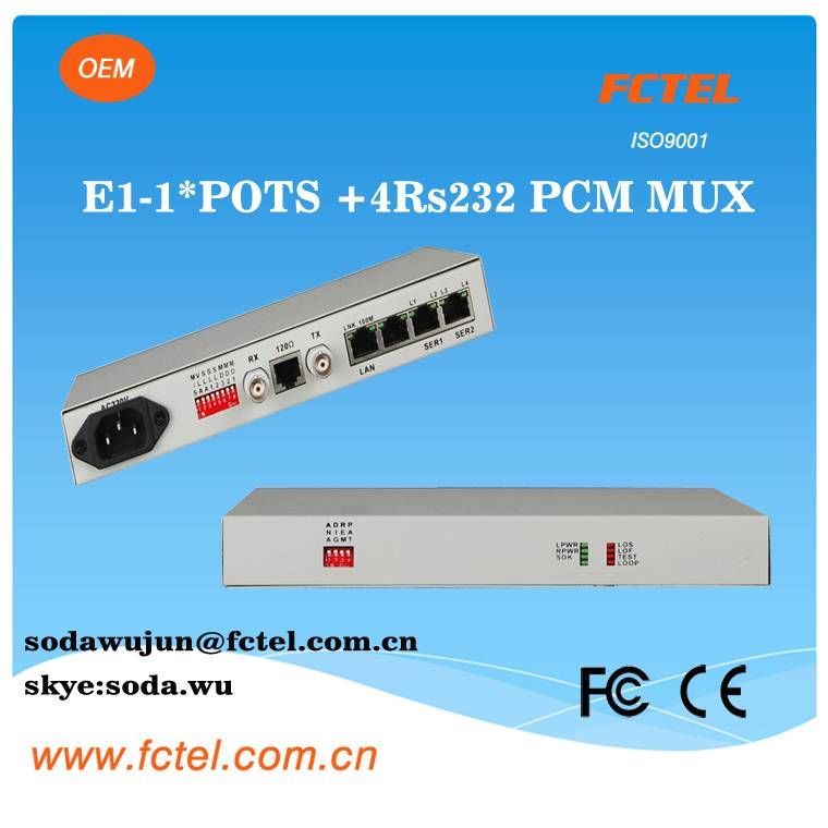E1 PCM MUX 1 channel POTS(FXO/FXS) 4RS232 over E1 cable