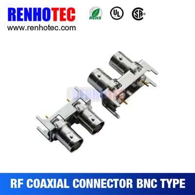 Straight Double BNC Jack Connector For PCB Mount