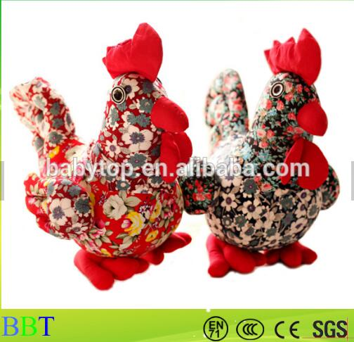 Custom China new year floral cloth chicken plush toy