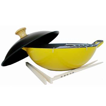 Enamel Coated Cast Iron Lemond Yellow Wok Set 2 1/2-qt.