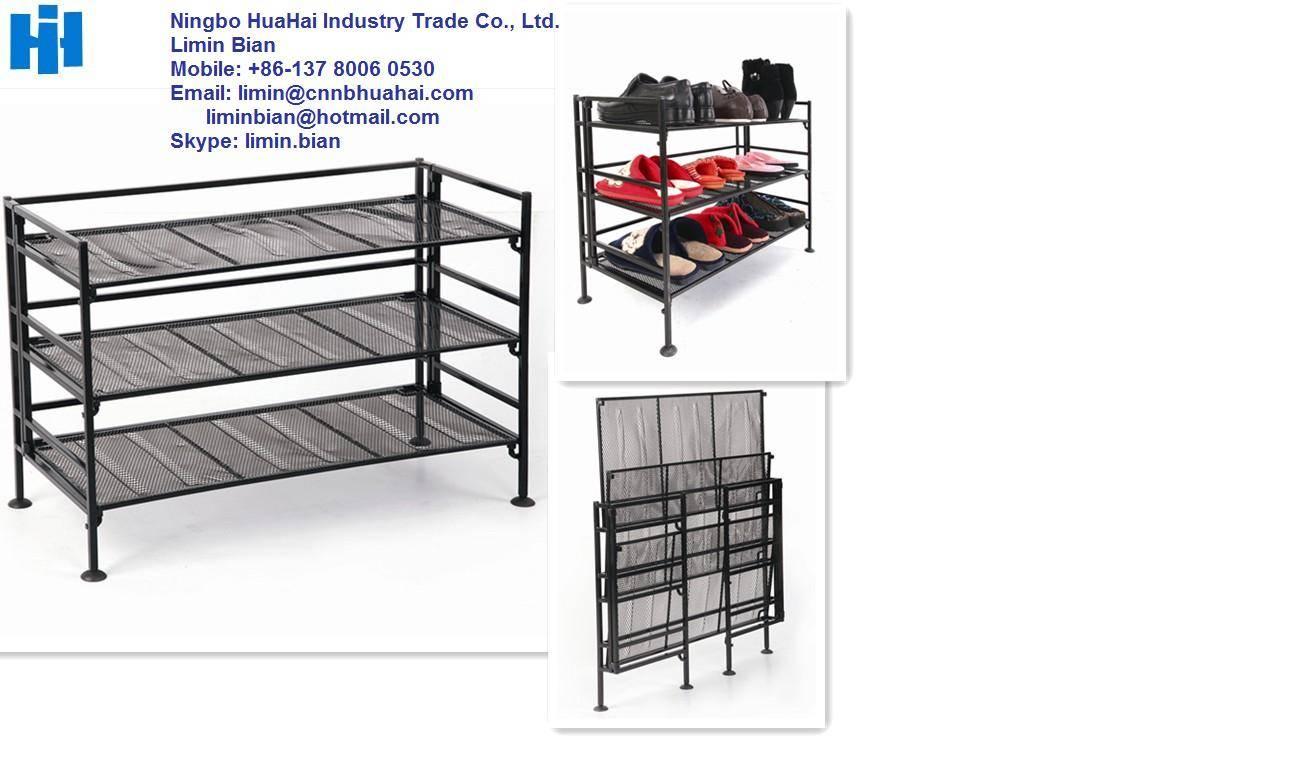 Foldable metal shoe stand rack