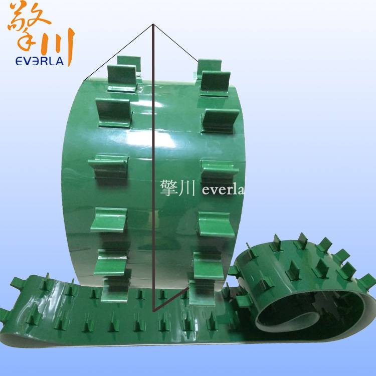 PVC green light food belt conveying climbing a candy and plate conveyor belt