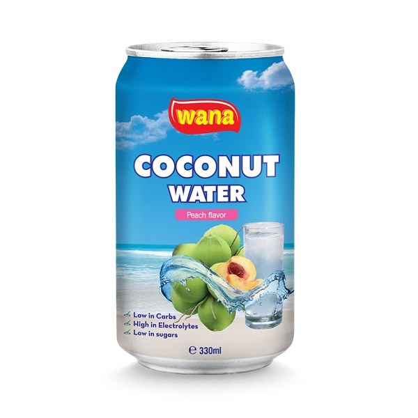 Bulk Coconut Water Vietnam Company With Peach Flavor in Can 330ml