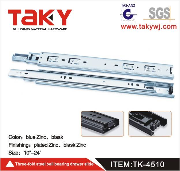 TK-4510 zinc color ball bearing drawer slide