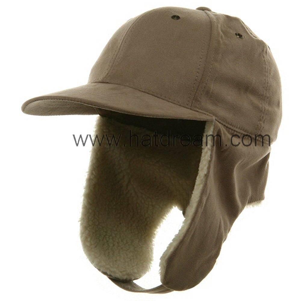 100% cotton twill baseball hat with earflap polar fleece lining custom hat cap