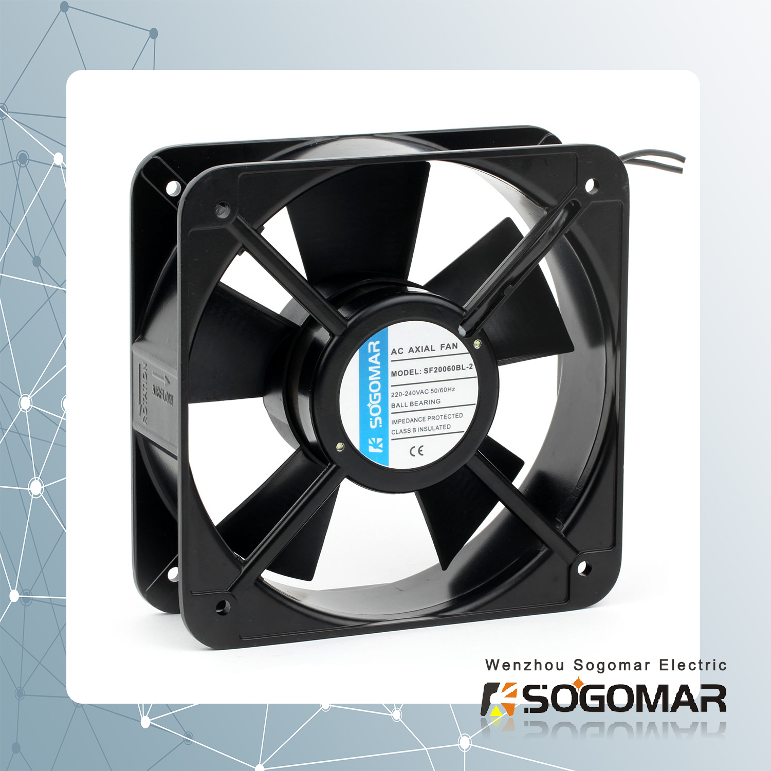 axial fan/ ventilation 200x200x60mm with plastic blades