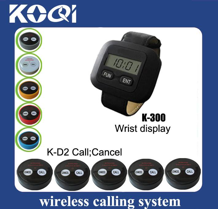 easy to use restaurant wrist watch pager system K-300+D2
