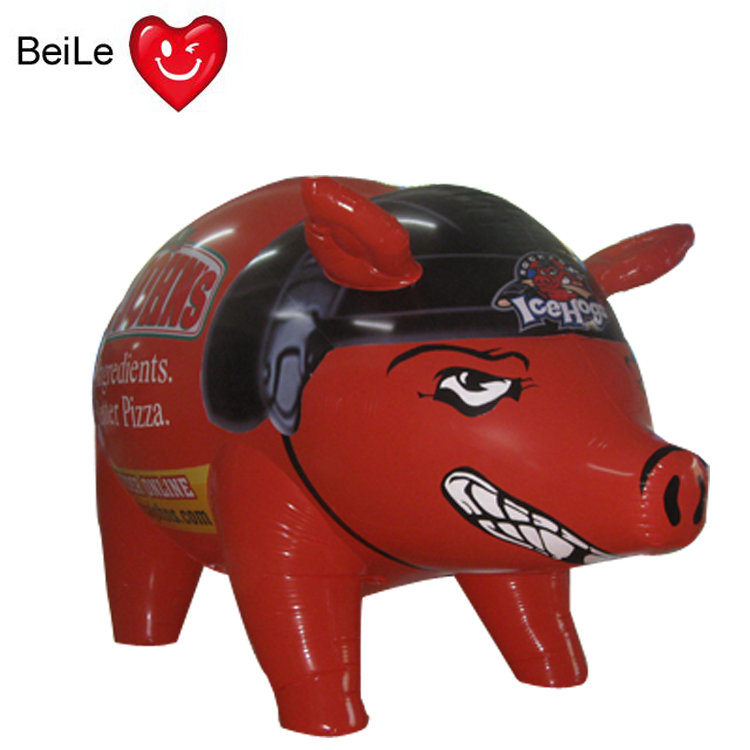 Customized red giant inflatable bush hog pig