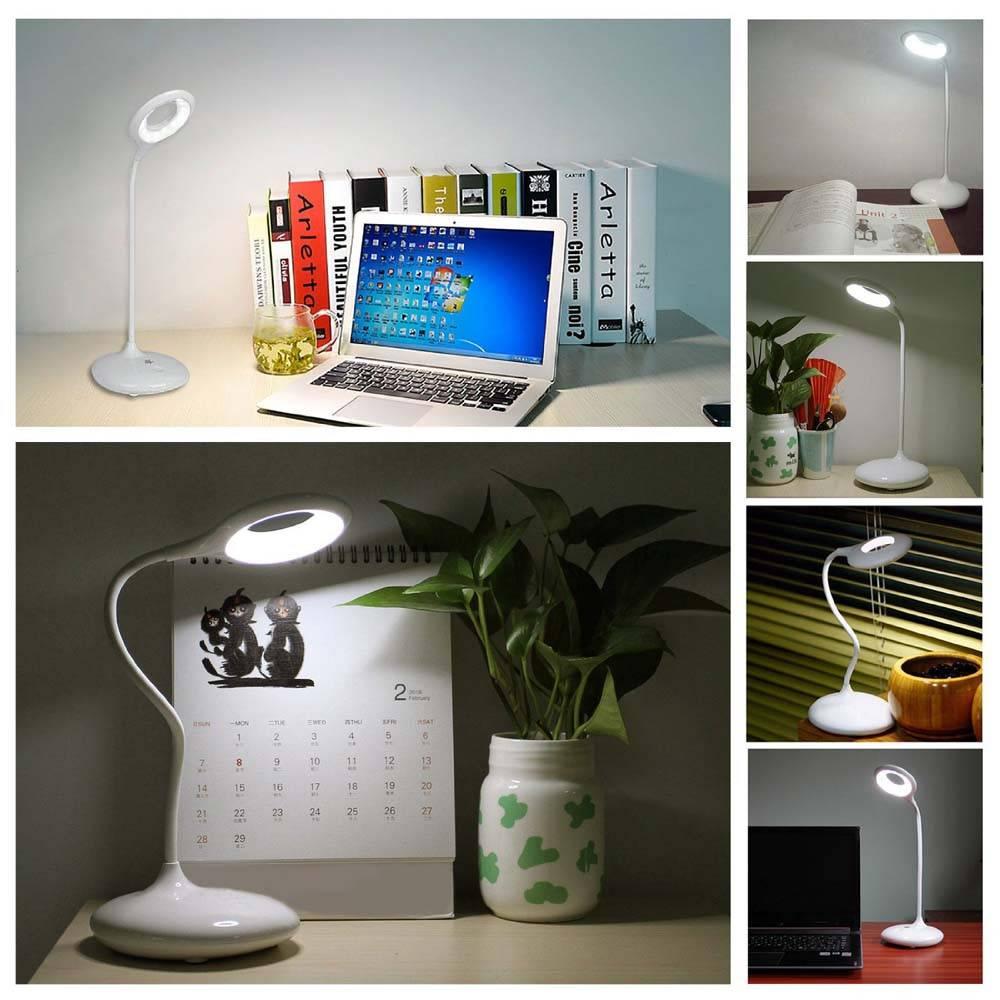 Dimmable On The Desk Lamp Touch Sensor Kids LED Eye Care Adjustable Gooseneck for Home, Reading, Stu