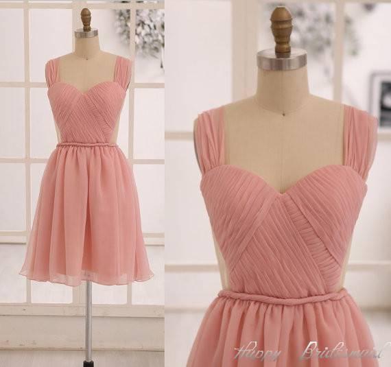 Dusty Rose Chiffon Sexy Prom Dress, Wide Straps Sweetheart Bridesmaid Dress
