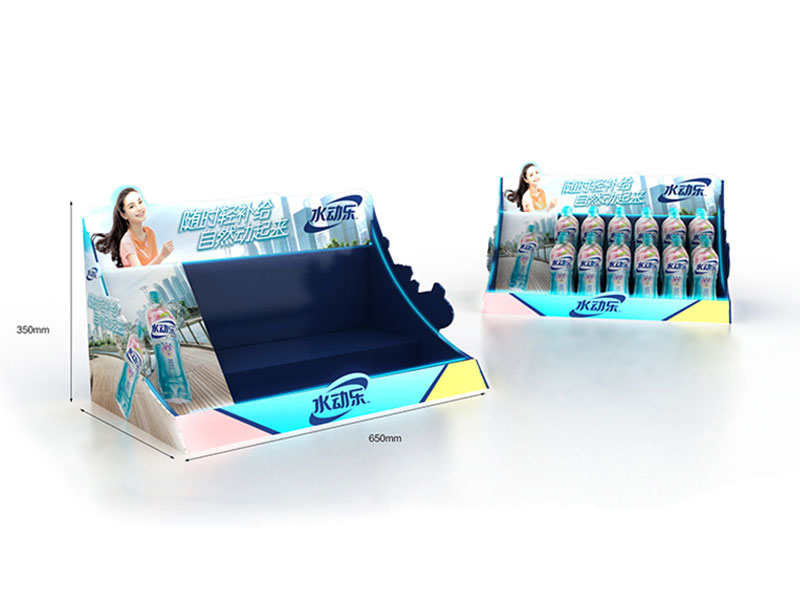 Customized promotional bottled beverage plastic countertop display box