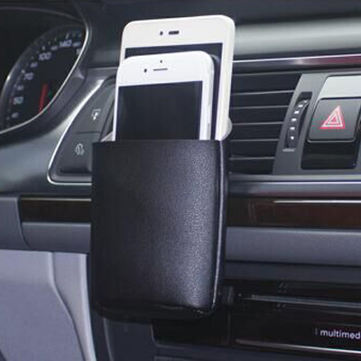 Car airlet phone leather pouch holder
