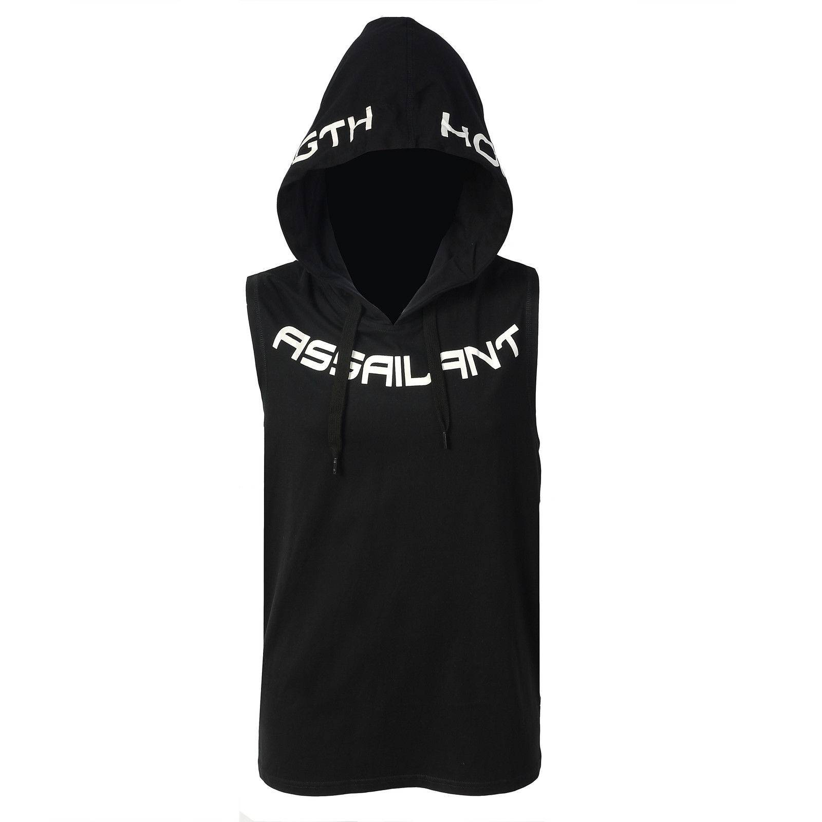 Black Slim Fit Sleeveless Hoodie Gym Wearing
