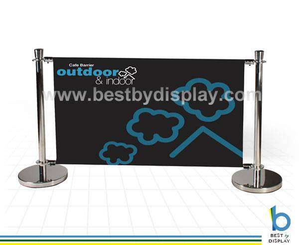 Printed cafe breeze queue barrier pole stand