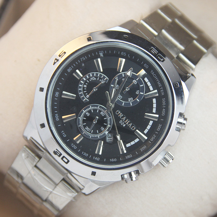 Fashion waterproof stainless steel wristwatches mens business watches