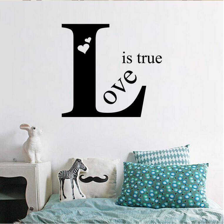 2017 New Design Love Is True Wall Stickers Home Decor for Dining Room Bedroom Kids Room DIY Sticker